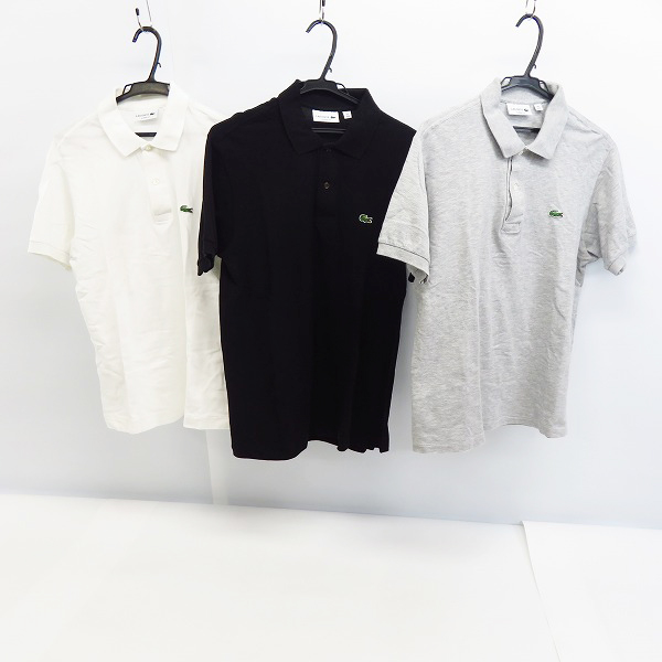 LACOSTE/ラコステ ロゴワッペン 半袖 ポロシャツ/カットソー/4(M) 3点セット